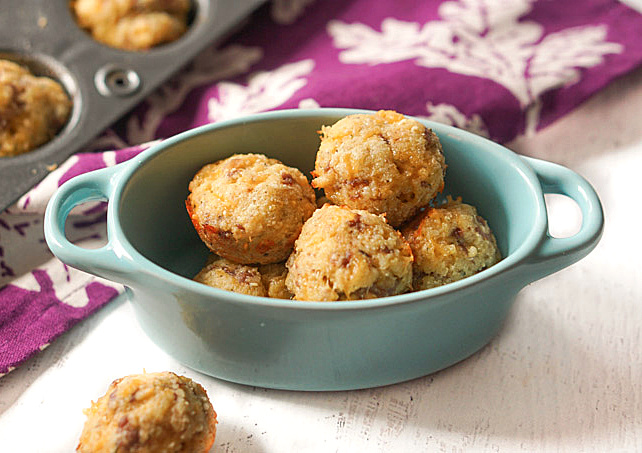 sausage and cheese muffins in a bowl