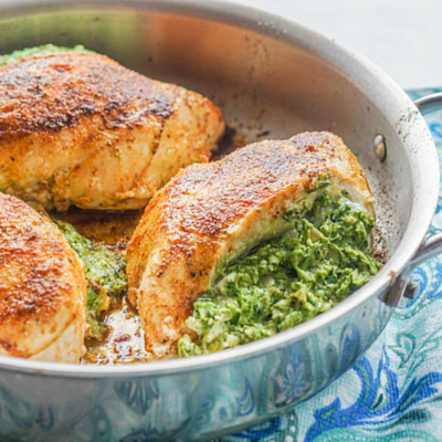 Easy Low Carb Artichoke & Spinach Stuffed Chicken