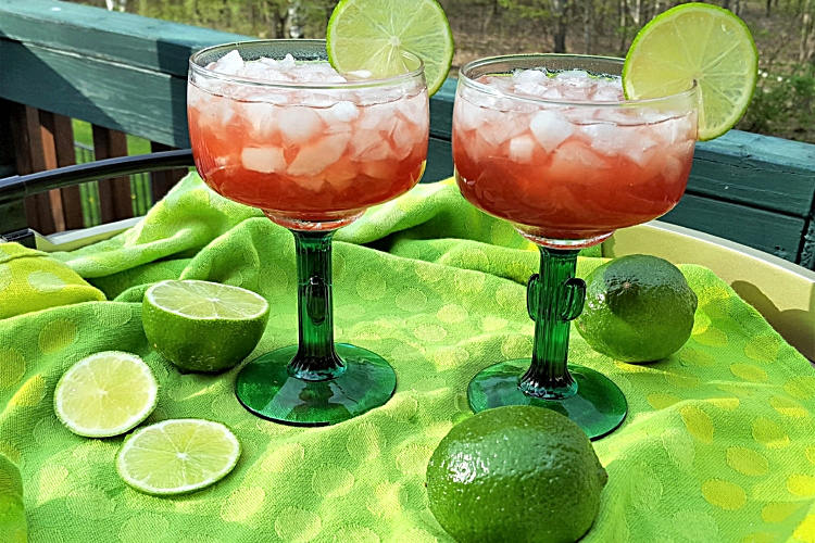 2 glasses of Pomegranate Margaritas