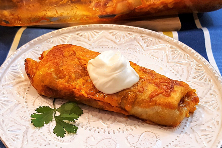 Cheesy Beef Burrito on a plate