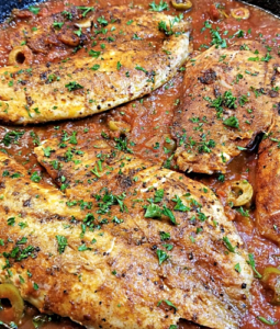 Spanish Style Tilapia in a pan