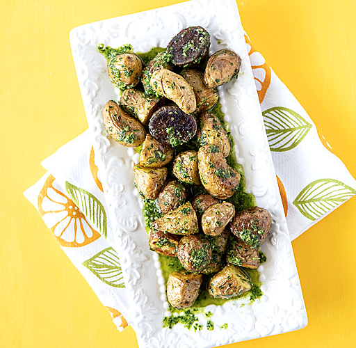 roasted fingerling potatoes in a platter