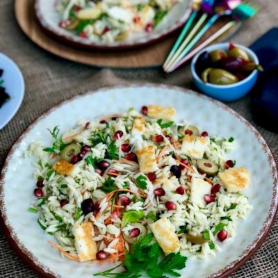 All Seasons Orzo, Halloumi and Olive Salad
