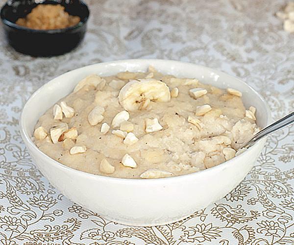 Semolina Porridge with Banana slices in a bowl