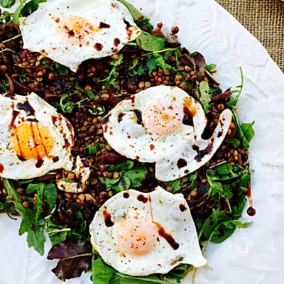 Lentils with Mushrooms, Wasabi Rocket and Watercress Salad