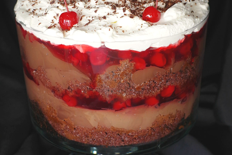 black forest trifle in a glass trifle bowl