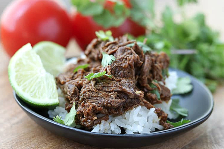 shredded beef over rice