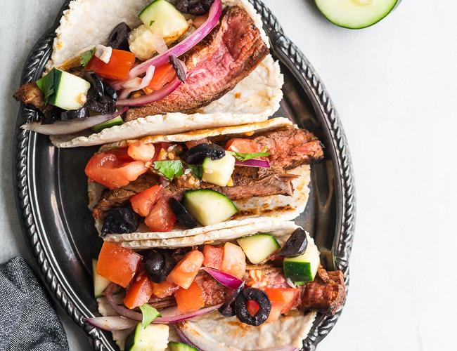steak tacos on a platter