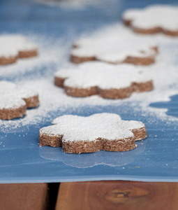 millet cookies dusted with powdered sugar