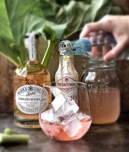rhubarb rosewater gin spritz in a glass