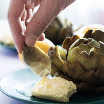 Artichokes with Whipped Lemon Butter – Steamed & Boiled version
