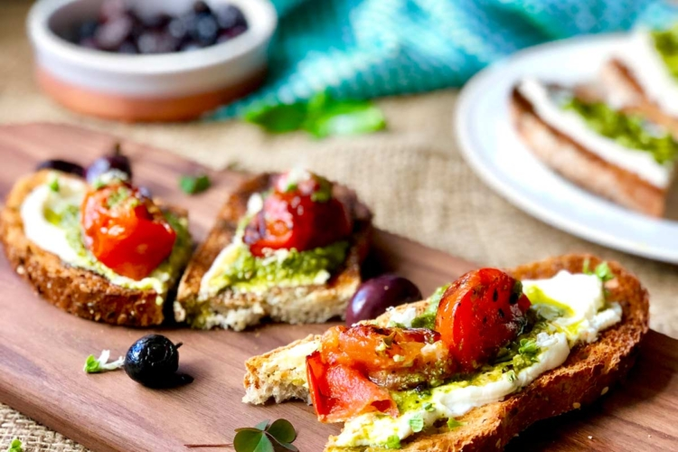Cream Cheese and Pesto Bruschetta
