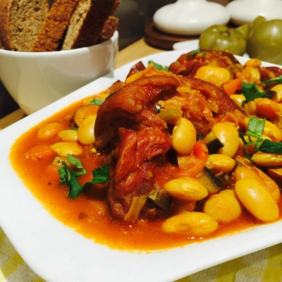 Smoked Pork, Sausages and Butter Beans Stew