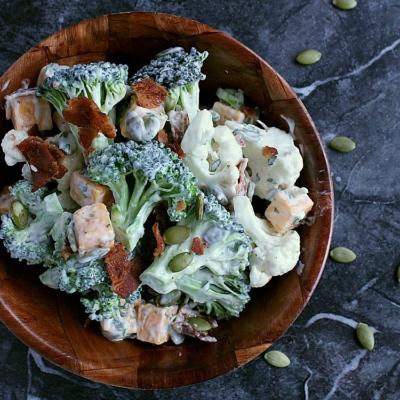 Ranch Cauliflower Broccoli Salad with Bacon and Cheddar