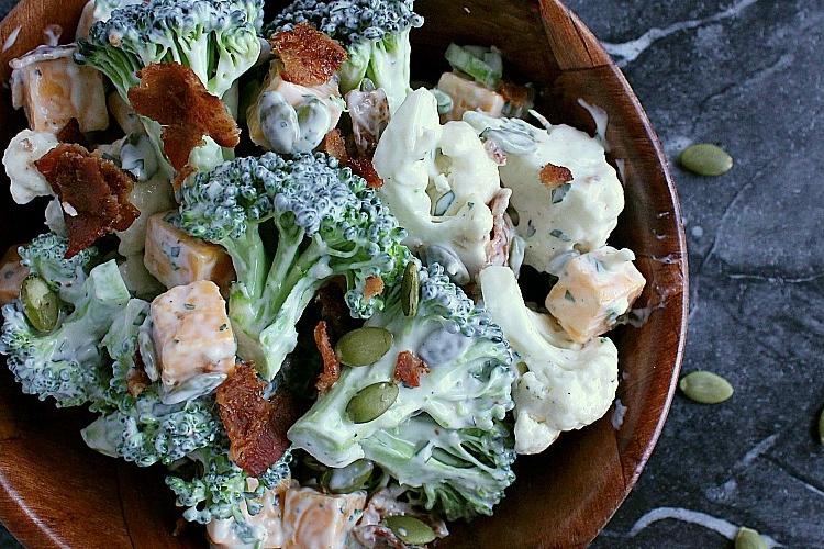 Cauliflower Broccoli Salad in a bowl