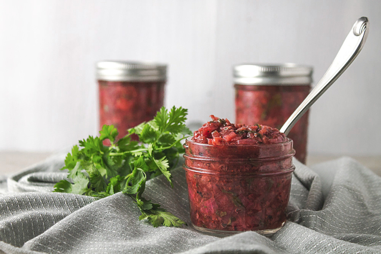 strawberry chutney in canning jars