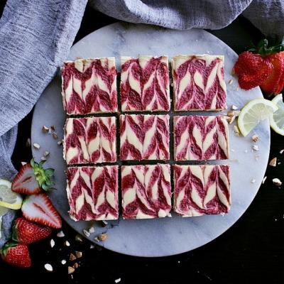 Strawberry Swirl Low Carb Cheesecake Bars