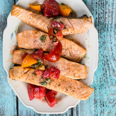 Grilled Salmon with Tomato Caper Vinaigrette