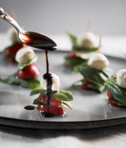 Mini Caprese Skewers Appetiser with Balsamic Glaze