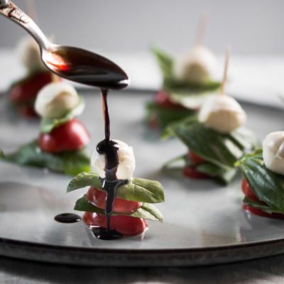 Mini Caprese Skewers Appetiser with Balsamic Glaze