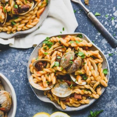 Spanish Clam & Chorizo Pasta