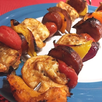 Creole Shrimp & Andouille Skewers