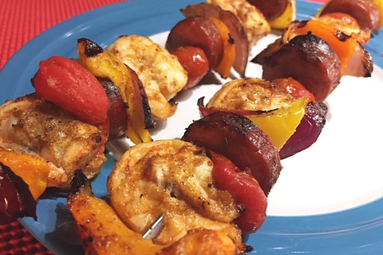 Creole Shrimp & Andouille Skewers