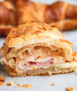 Delicious Ham and Cheese Croissant for brunch. Prepared within minutes!