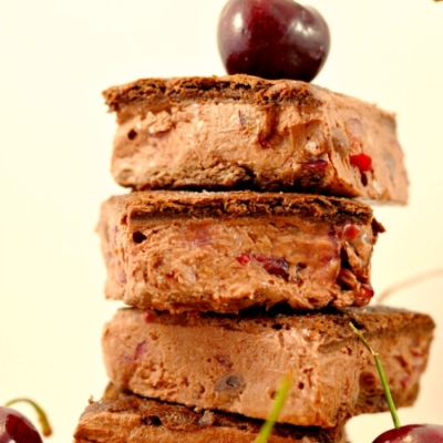 Healthy Black Forest Ice Cream Sandwiches
