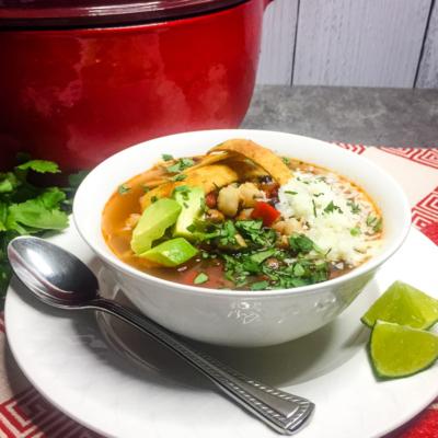 Vegetarian Tortilla Soup with Tempeh