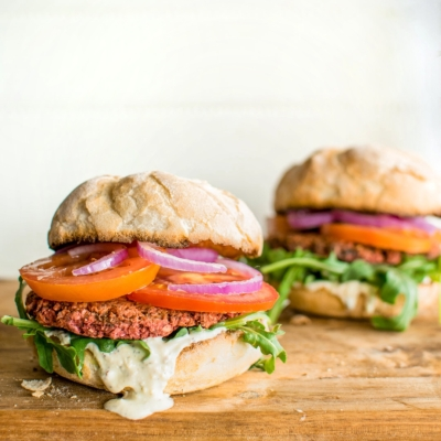 Chickpea and Beetroot Burgers with Whipped Feta