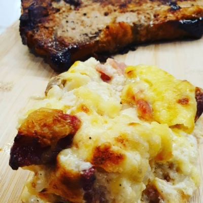 Keto Cauliflower Bacon and Salami Bake
