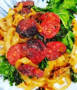 Keto Garlic Chorizo Fettuccine