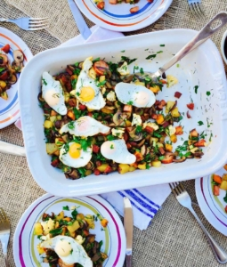 Quail egg, potato and mushroom