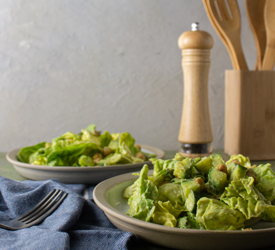 Summer Salad with Avocado Dressing and Crispy Chickpeas