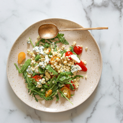 Corn Salad with Arugula, Tomatoes and Blue Cheese!