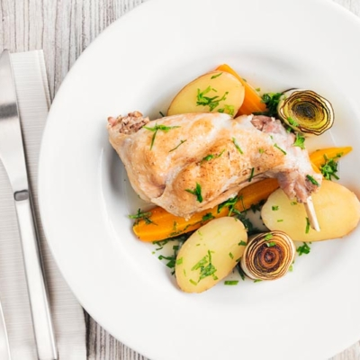 Braised Rabbit Leg With Leeks and Carrot