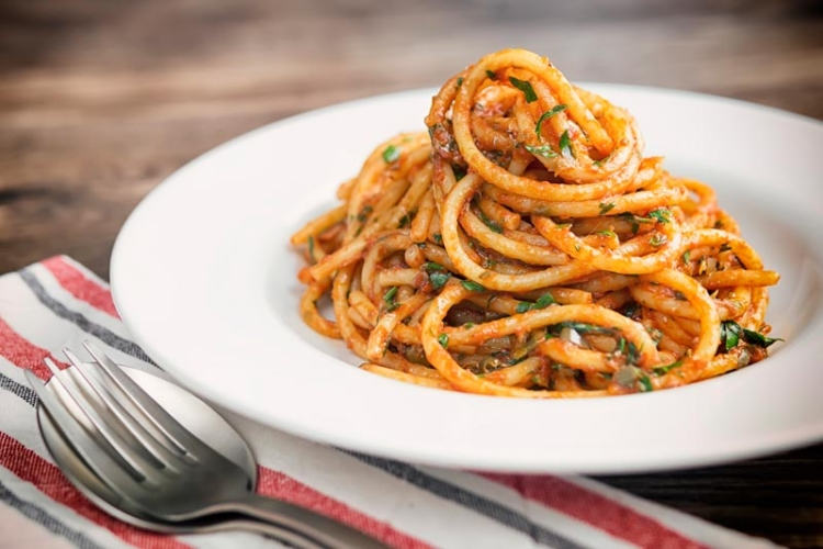 Bucatini Pasta with Puttanesca