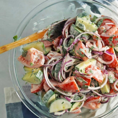 Creamy Tomato Cucumber Salad
