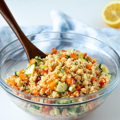 Quinoa Chickpea Salad with Lemon Dill Dressing