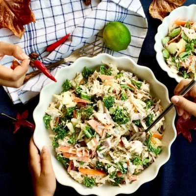 Swede, Broccolini and Roast chicken salad
