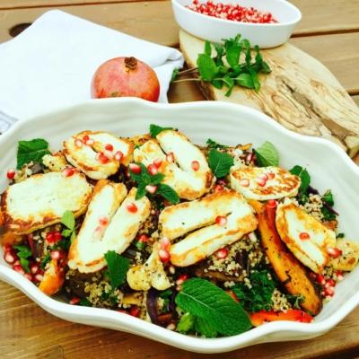 Quinoa, Roast Vegetables and Pomegranate Salad
