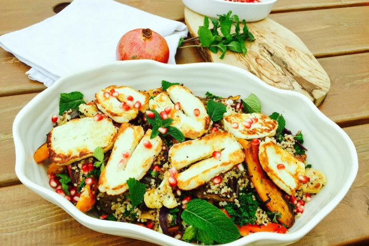 Roast Vegetables and Pomegranate Salad