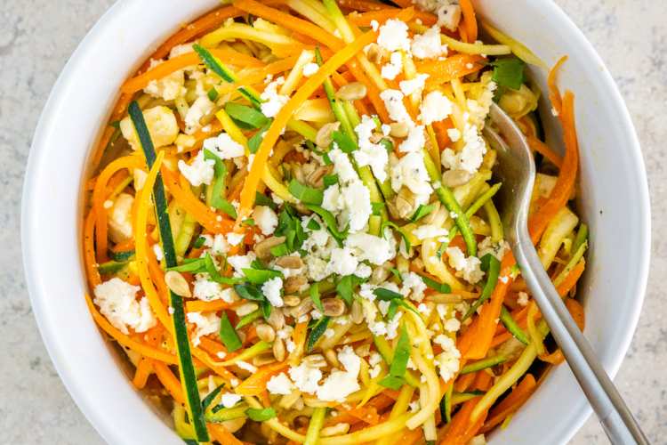 Spiralized Salad with Feta and Lemon Garlic Dressing