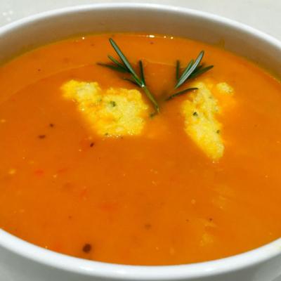 Tomato and Polenta Dumplings Soup