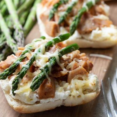 Open-Faced Creamy Chicken Rainier Sandwich with Caramelized Onions and Gruyère