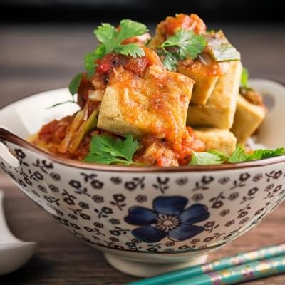Crispy Fried Tofu with Tomato Sauce