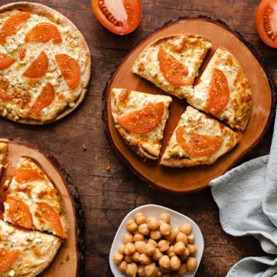Mediterranean Hummus Flatbread Pizza