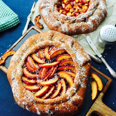 Quince jam and peach homemade galette