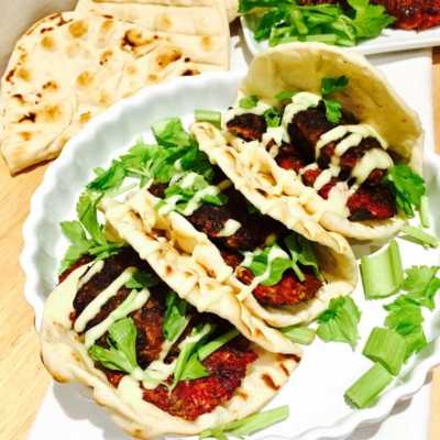 Beetroot and Halloumi Cheese Burgers on Flat Bread